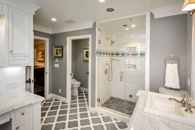Elegant White Tile And Subway Tile Multicolored Floor Alcove Shower Photo  In San Francisco With A