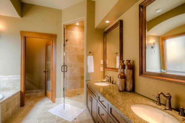 Hybrid Log House Beside Ski Resort traditional-bathroom