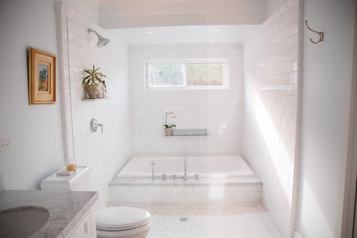 Thoughts on shared shower and tub wet areas for Wet area bathroom ideas