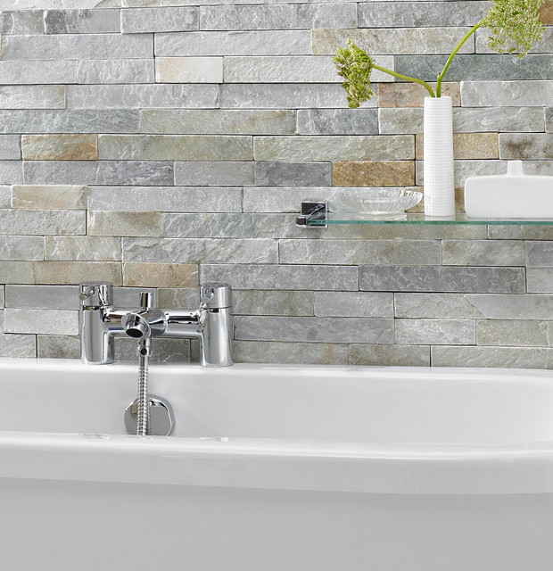 Traditional Contemporary Bathrooms Ltd: Ice White Split Face Mosaic Tiles