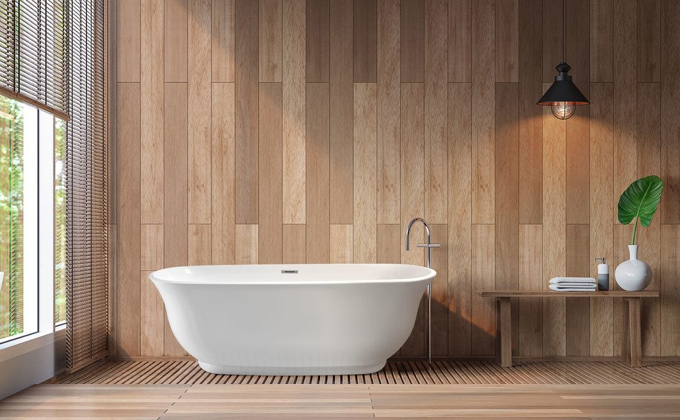 Example of a mid-sized minimalist freestanding bathtub design in Los Angeles