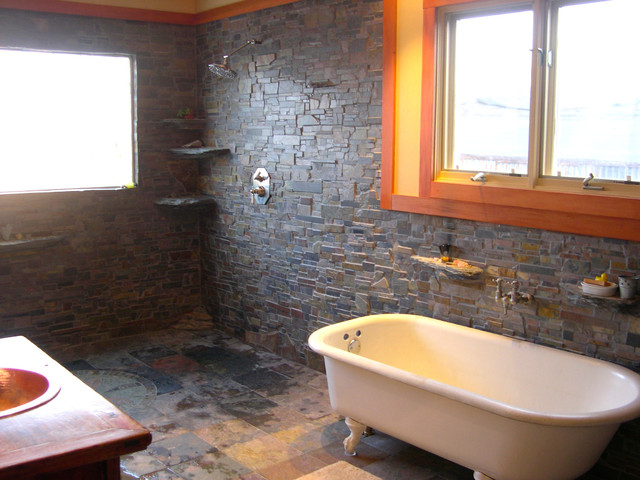 In home brazilian slate shower room contemporary for Slate wet room