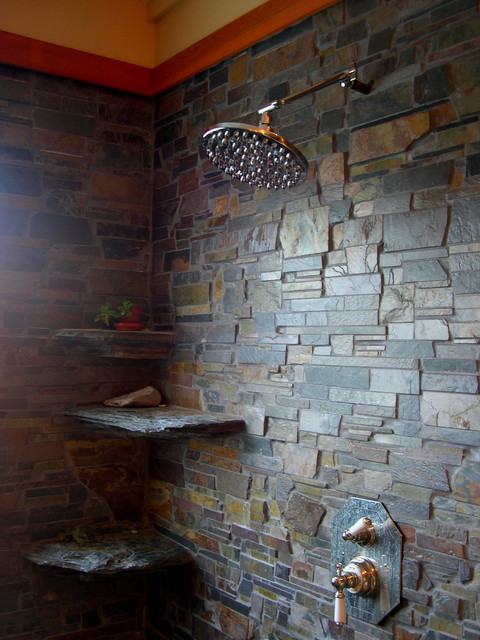 In Home Brazilian Slate Shower Room Contemporary