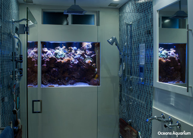 In shower wall custom aquarium installation for D i y bathroom installations