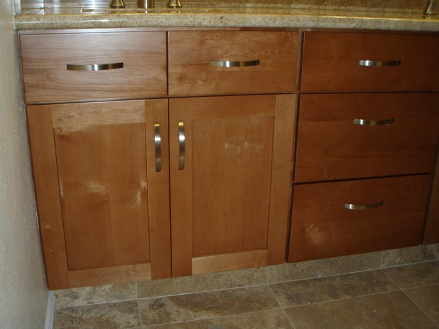 in stock kitchen cabinets with custom pulls tropical