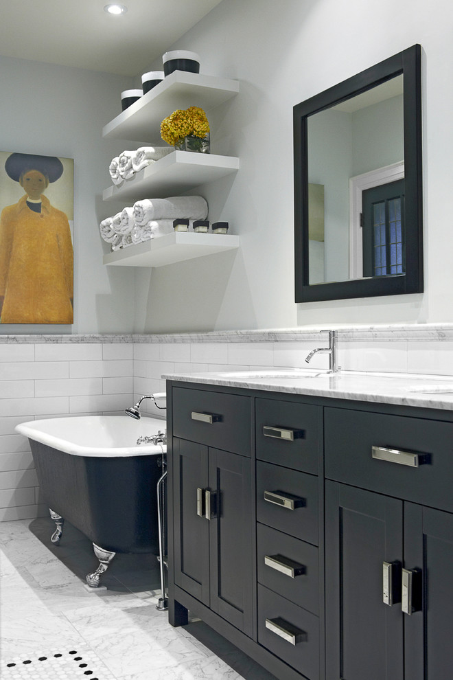 Example of a mid-sized transitional master mosaic tile and white tile marble floor bathroom design in Toronto with furniture-like cabinets, green cabinets, gray walls, an undermount sink and marble countertops