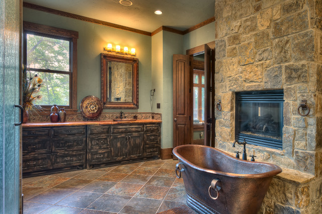 Indian Lakes Mountain Lodge Style Rustic Bathroom Houston By Ellis Custom Homes Llc