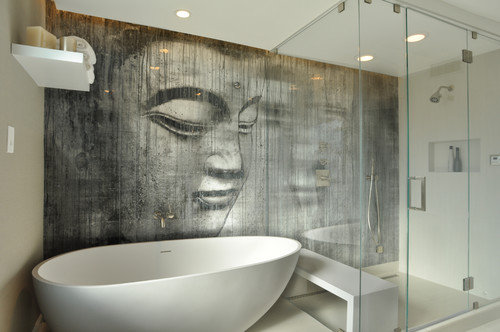 What Medium Is The Buddha On The Wall A Tile, Wallpaper  ?