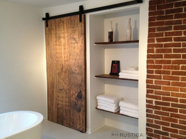 Industrial Barn Door Hardware And Barn Doors Contemporary Bathroom