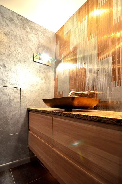 Metal backsplash and vessel sink industrial-bathroom