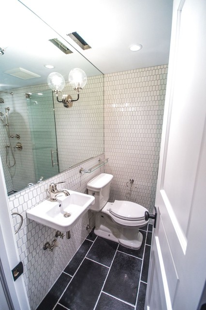 Rae Duncan Interior Design | RDID · Interior Designers & Decorators. Example of a small urban 3/4 black and white tile and ceramic tile ceramic