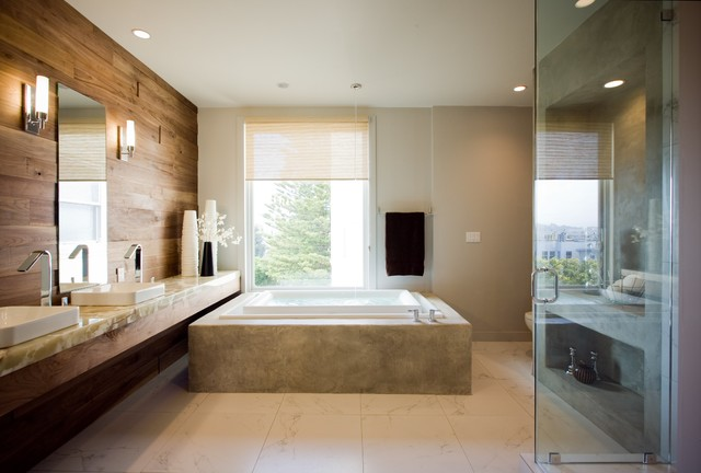 Exceptionnel Large Trendy Master White Tile And Ceramic Tile Porcelain Floor Bathroom  Photo In San Francisco With