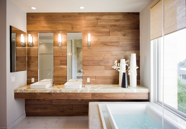 Example of a large trendy master white tile and ceramic tile ceramic floor drop-in bathtub design in San Francisco with a vessel sink, onyx countertops, brown walls and beige countertops