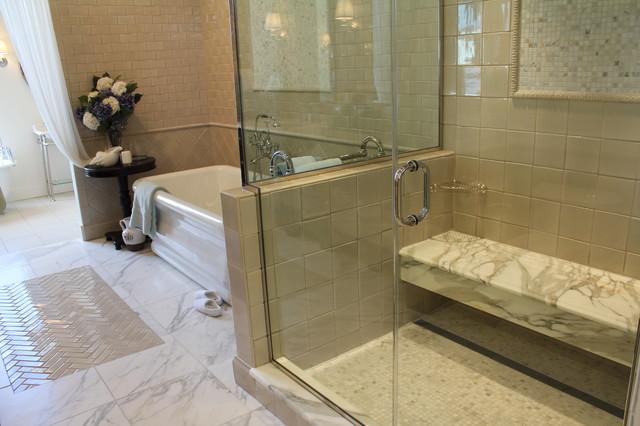 Infinity Drain Under Bench Contemporary Bathroom By