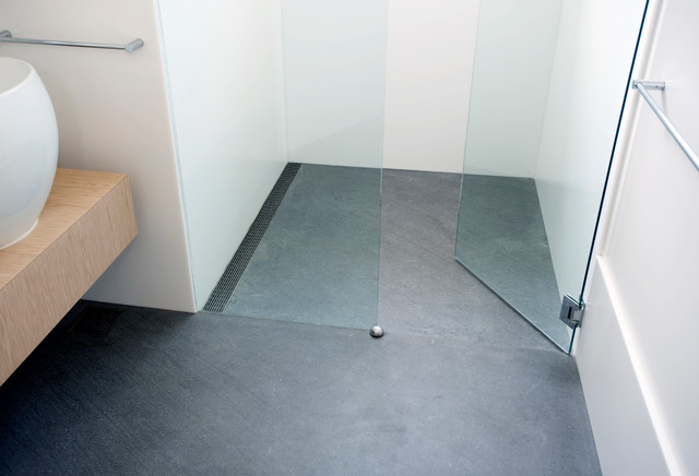 Infinity Drain With Slab Floor Contemporary Bathroom