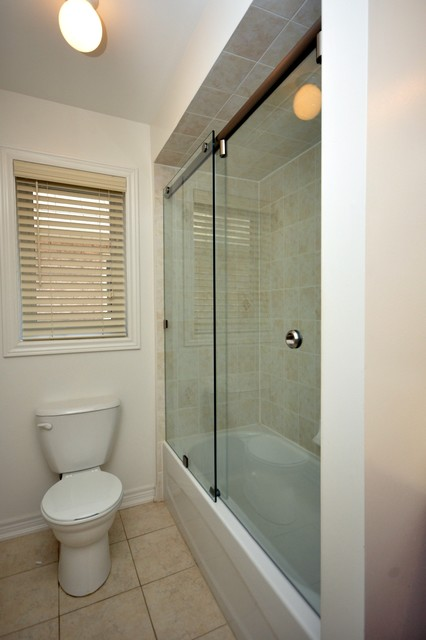 inline sliding glass shower door for bath tub modern bathroom