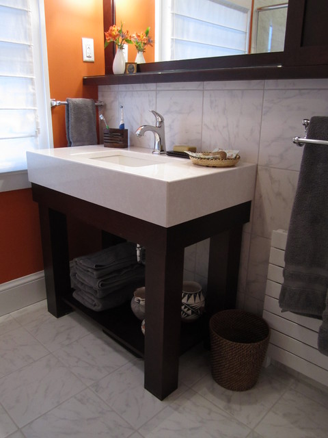Inspired West Hartford Bath: Cherry and Carrara contemporary bathroom