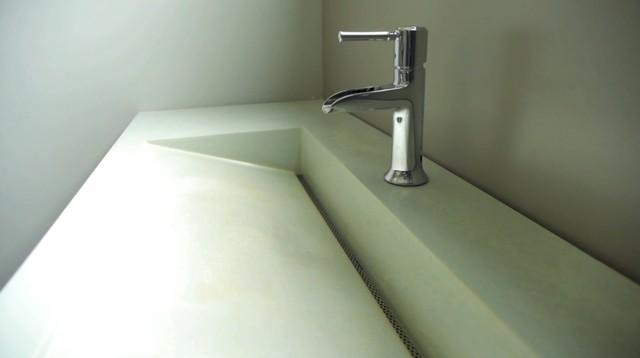 Integral Sustainable Cast Concrete Slot Drain Sink Contemporary Bathroom