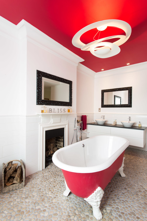 Black White And Red In The Bathroom Abode