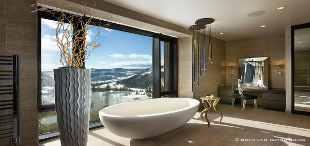 Interior design by Len Cotsovolos at LC2 Design Services contemporary-bathroom