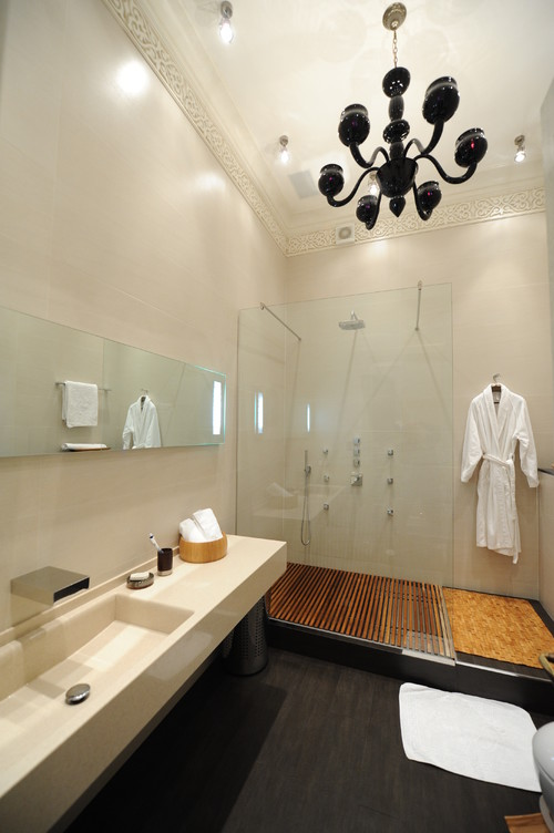 Captivating Wooden Shower Floor And Soap Scum