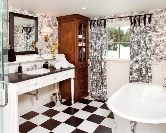 White and black toile bathroom design ideas pictures remodel decor - Toile bathroom decor ...
