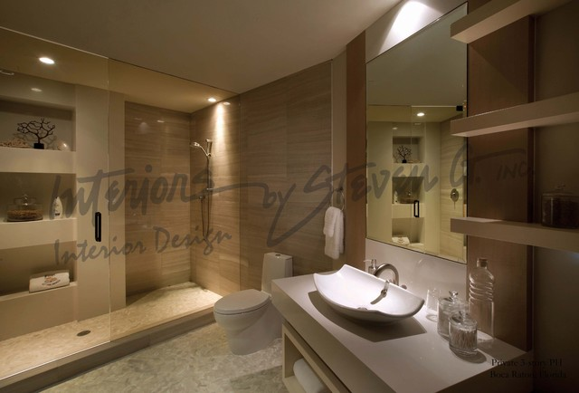 Interiors by steven g modern bathroom miami by for Interior decoration of small bathroom