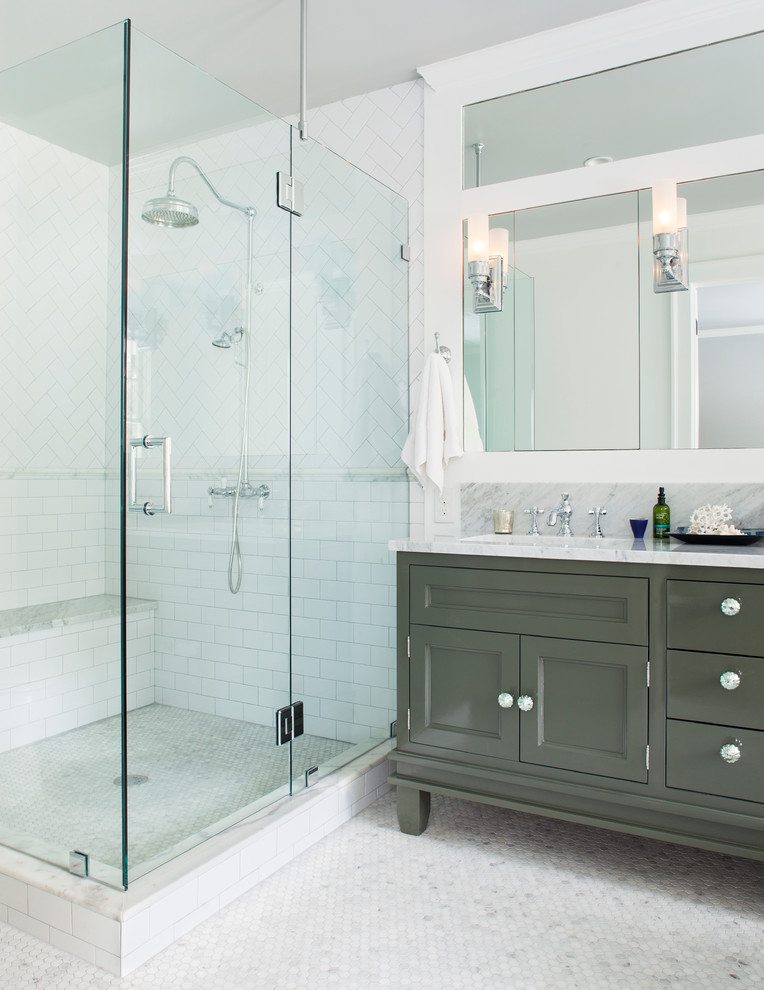 Inspiration for a timeless white tile and subway tile corner shower remodel in Atlanta with gray cabinets and recessed-panel cabinets
