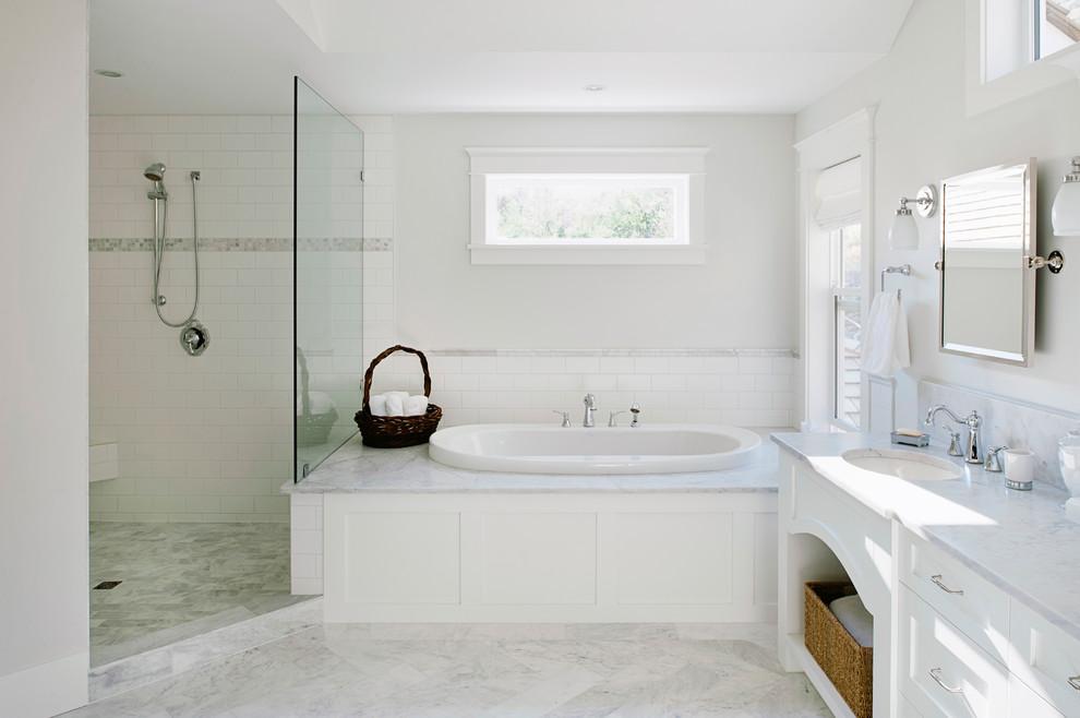 Bathroom - traditional bathroom idea in Vancouver with marble countertops