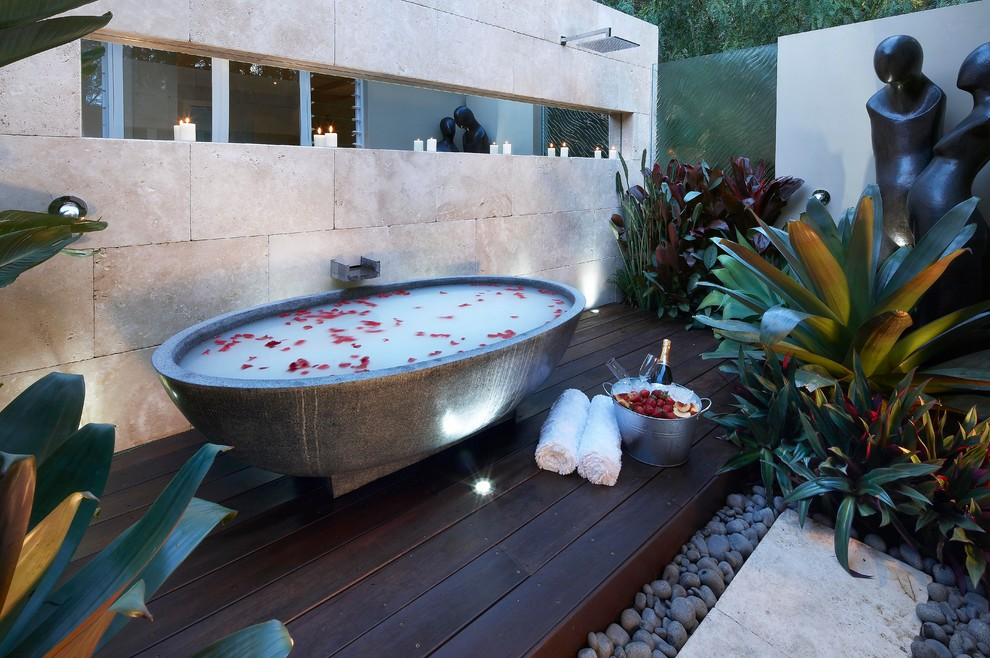 Inspiration for a contemporary freestanding bathtub remodel in Sydney