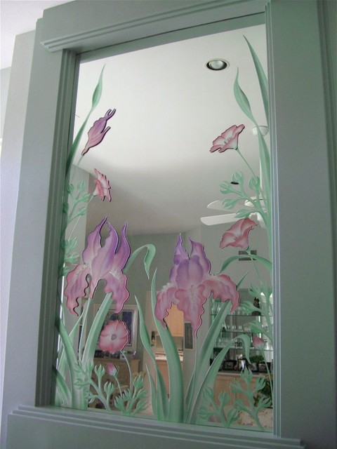 Good Iris Flowers Decorative Mirror With Etched, Carved Design Bathroom