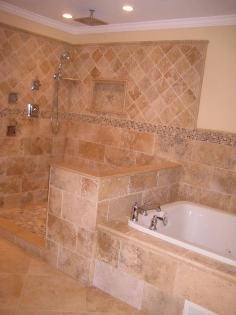 Irox travertine bathroom traditional bathroom for Travertine tile bathroom gallery