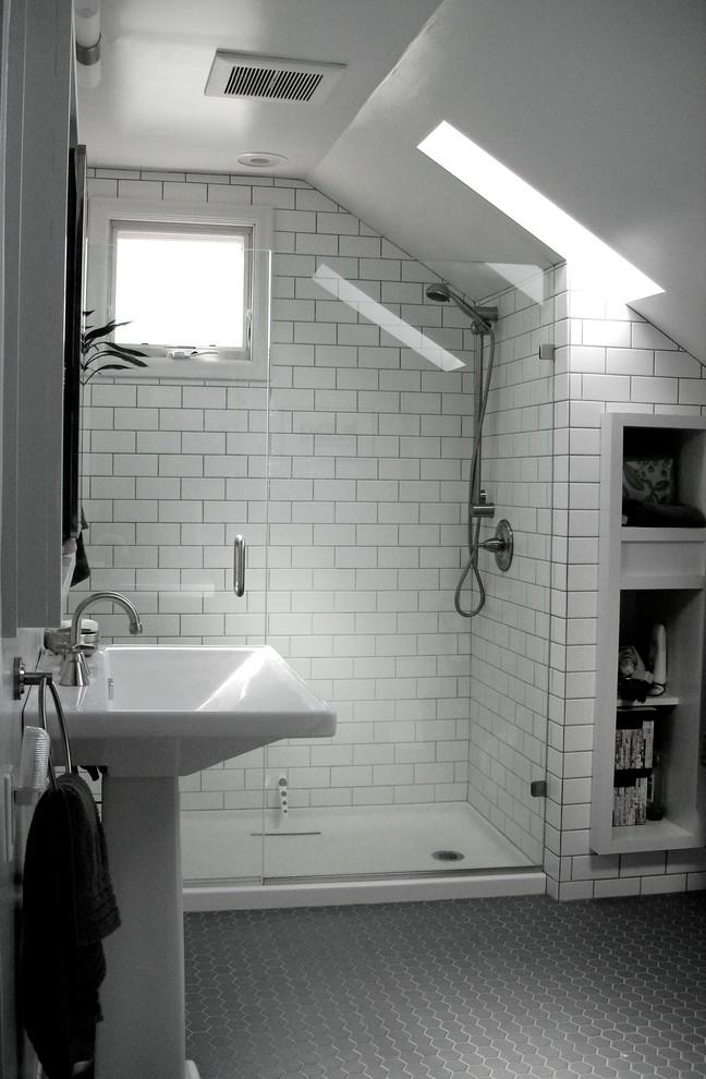 Example of a classic gray floor bathroom design in Portland