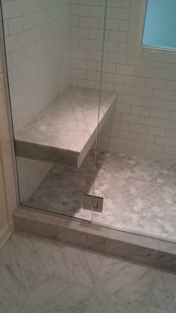 Irvington Craftsman Shower With Suspended Bench