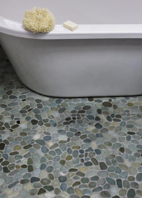 Island Stone Perfect Pebble Floor Modern Bathroom