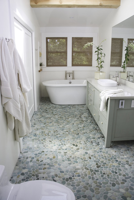 bathroom pebble floor island pebble floor modern bathroom 11201