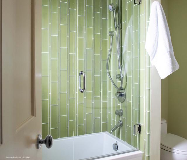 Island Stone Seagrass Boulevard Glass Tile Shower - Modern - Bathroom - other metro - by Island ...