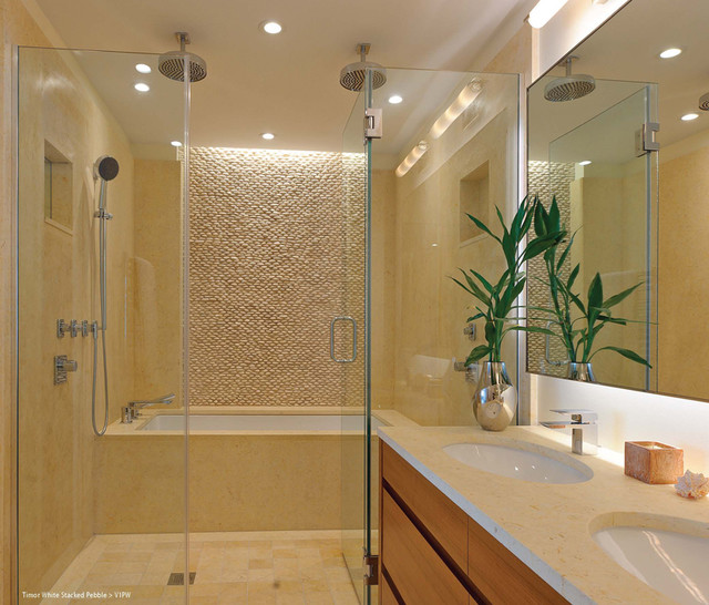 Island stone timor white stacked pebble bathrooom modern for Stacked stone bathroom ideas