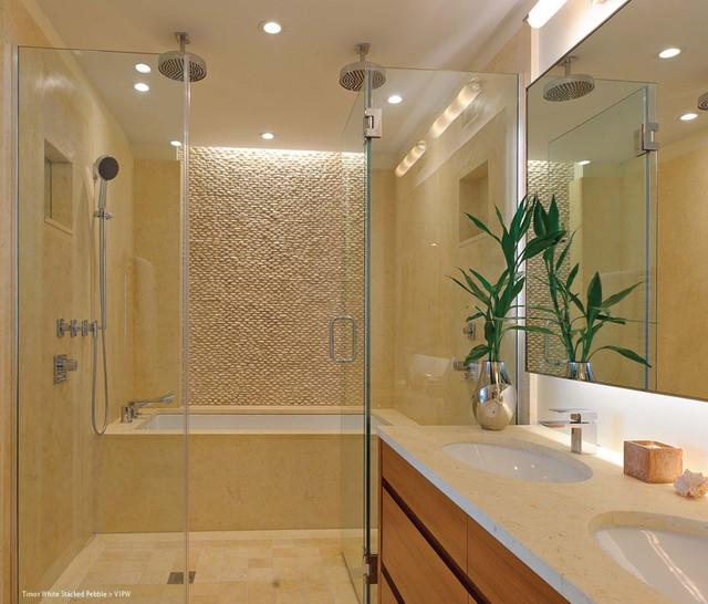 Island Stone Timor White Stacked Pebble Bathrooom modern bathroom. Island Stone Timor White Stacked Pebble Bathrooom   Modern