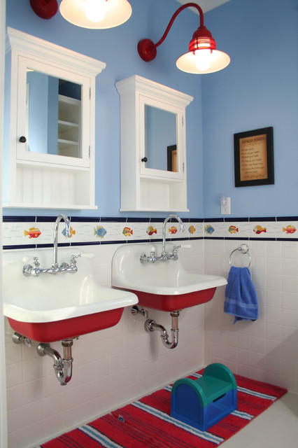 Eclectic kids' bathroom photo in Charleston with a wall-mount sink and blue walls