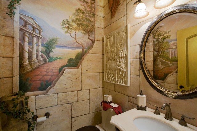 Italian Landscape Murals And Imagery Mediterranean Bathroom