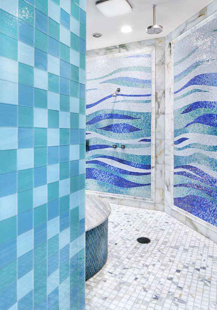 Inspiration for a contemporary mosaic tile bathroom remodel in Austin