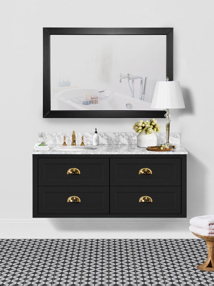 Ivory 48 Inch Bathroom Vanity In Black Contemporary Bathroom Orange County By Vanity By Design Houzz