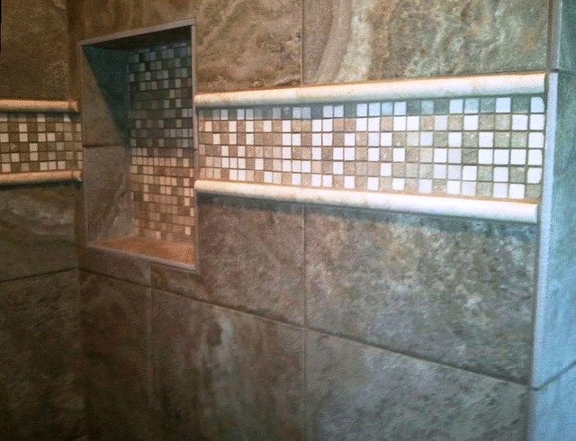 Ivory/Seagrass Mosaic traditional-bathroom