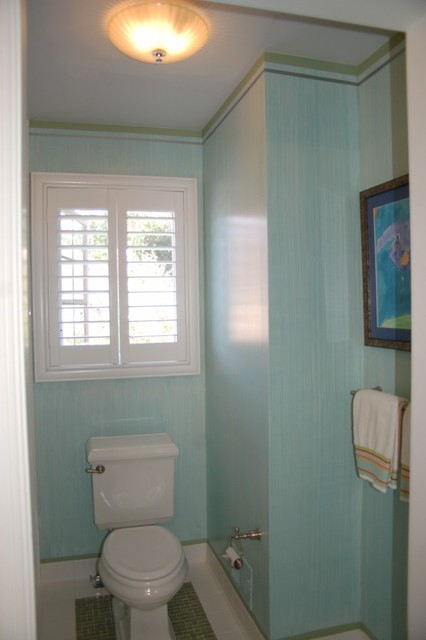 Jack and Jill Bath Stried Wall Glaze with Stripes eclectic bathroom