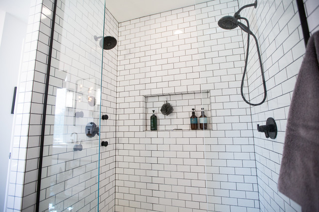 Small eclectic master white tile and ceramic tile concrete floor and gray floor bathroom photo in Other with furniture-like cabinets, black cabinets, white walls, an undermount sink, marble countertops and white countertops