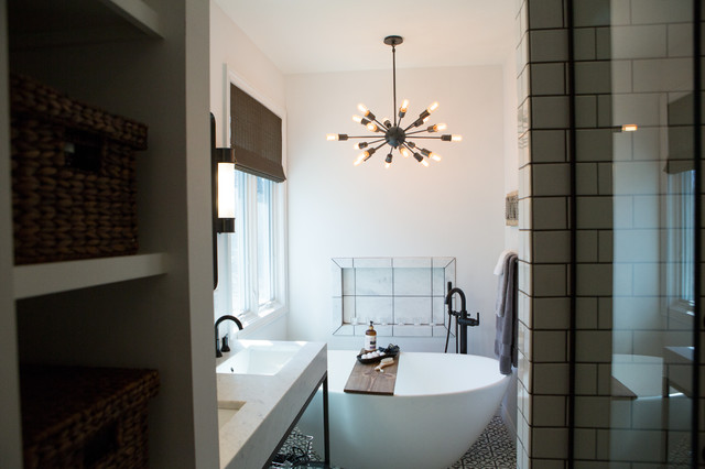 Bathroom - small eclectic master white tile and ceramic tile concrete floor and gray floor bathroom idea in Other with furniture-like cabinets, black cabinets, white walls, an undermount sink, marble countertops and white countertops