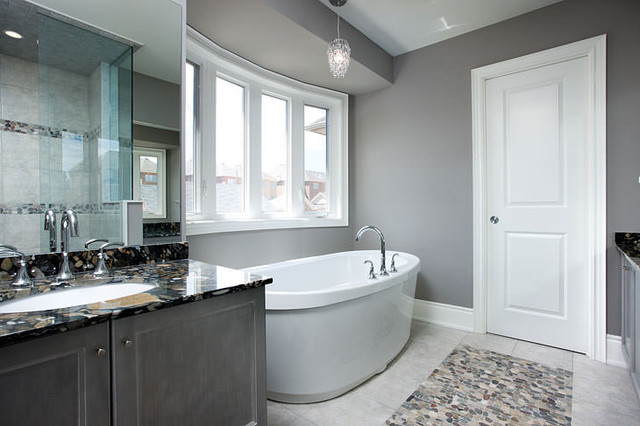 Gray bathroom contemporary bathroom toronto by jane lockhart interior design Simple contemporary bathroom design