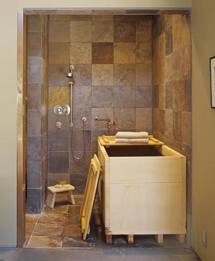 Japanese soaking tub off master bedroom modern for Japanese shower room