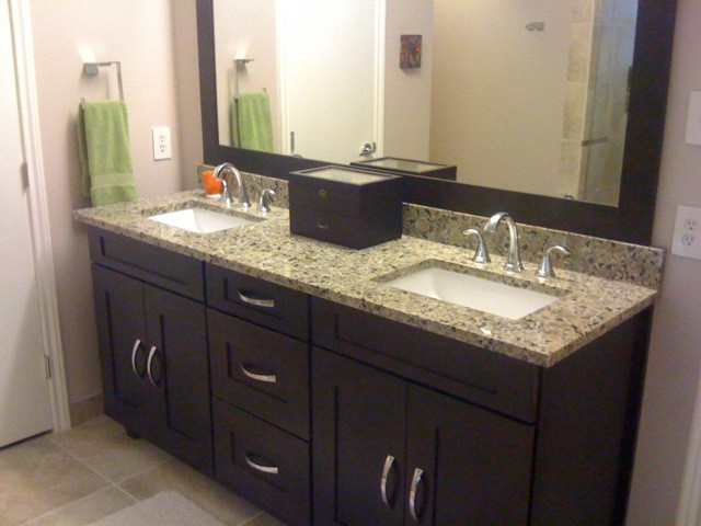 Java Cherry Vanity Cabinets Contemporary Bathroom Dallas By Star Home Remodeling